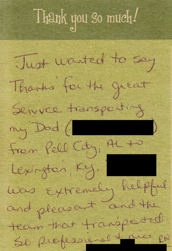 Long Distance Elderly Transport Testimonial